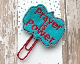 Prayer is Power Feltie Paperclip Planner Bookmark, Bible Journaling, Planner Accessories, Prayer Feltie planner clip, Inspirational bookmark