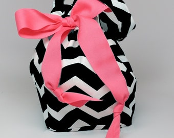 Choice of Size - Black Chevron - Plum Creek Project Bag (Bk-002)