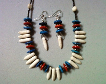 White, Blue and Orange Ethnic Inspired Dagger Necklace and Earrings (0728)