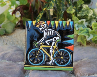 Cyclist Fo' Life! Dia De Los Muertos/Day of the Dead Mexican 4x4 tile