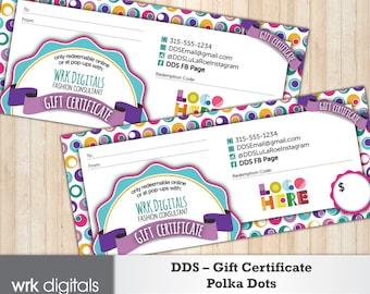 Dot Dot Smile Gift Certificate, Polka Dots Design, Fashion Consultant, Direct Sales, PRINTABLE