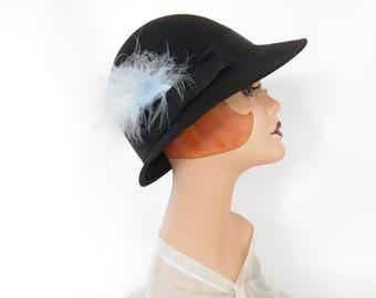 Black fedora hat, woman's vintage 1960s hat, blue feathers