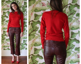 Vintage Leather Pants / Brown Leather Low Slung Pants / Cropped Cuffed Leather Pants
