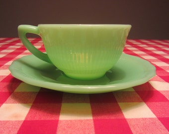 CLP - Vintage jadite glass large Tea Cup and Saucer - Made in England - 1950s