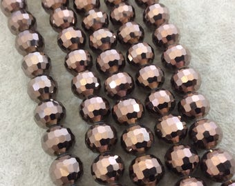 """12mm Glossy Finish Faceted Opaque Dark Brown Chinese Crystal Round/Ball Shape Beads - Sold by 15.75"""" Strands (Approx. 36 Beads) - (CC12-110)"""