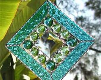 Stained Glass Sun Catcher, Aqua Stained Glass Suncatcher, Sun-Catcher, Glass Nuggets and Beveled Glass, Glass Suncatchers, Gift Idea, 9705AQ