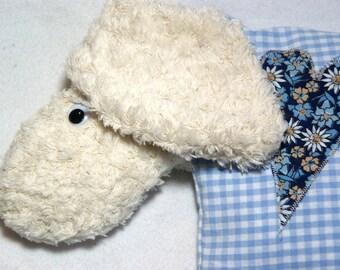 Anpassbare blaue Schafe geformt Kirschkernkissen
