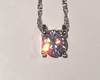 Carbon Diamond - 3ct Solitaire Necklace Pendant Sterling Silver 925 Setting #133