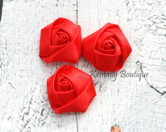 3 Pack Red Satin Rosette Flower, Fabric Flower, Craft Supplies, DIY Flower, DIY supplies, Embellishment