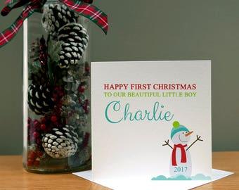 Personalised Boy Snowman Christmas Card - Xmas Card - Christmas Children - Christmas Kids - Christmas Cartoon - Christmas Family
