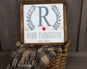 Custom Family Sign  // Farmhouse Style // farmhouse decor // family sign // family name sign // family eatablished sign // wedding gift
