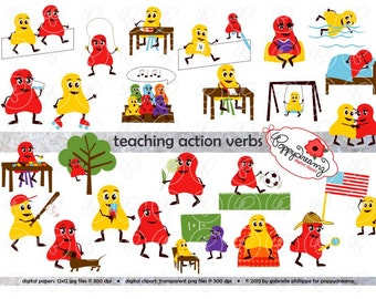 Teaching Action Verbs Clipart & Digital Flashcards: Digital Image Set (300 dpi) School Teacher Clip Art Reading Flashcards Reading Grammar