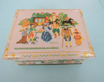 Vintage Daher Tin Lithograph Hinged Box Free Shipping