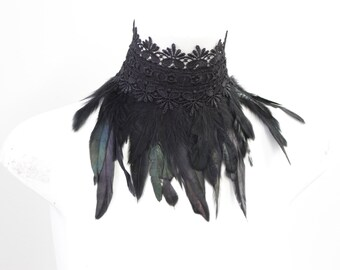 Feder Kragen schwarz Federn schwarzer Spitze Halsreifen