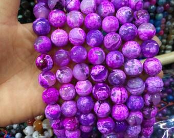 Hot Pink Agate 14mm Round ball beads -28pcs/strand