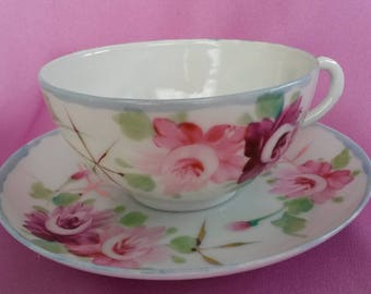 Fine Japan China Hand Painted Tea Cup & Saucer Pink Roses, Gold Stars with Blue Trim