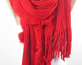Outdoor Gift Travel Clothing Gift Knit Scarf Red Scarf Knitted Scarf Winter Scarf Holiday Valentines Gift For Mom For Women For Wife For Mom