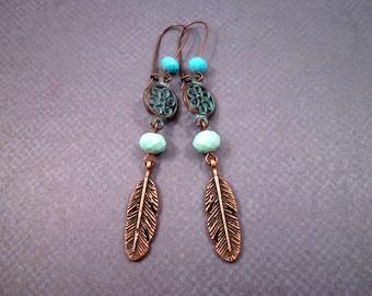 Copper Feather Earrings, Blue Patina Pendant and Glass Beaded Earrings, Long Dangle Earrings, FREE Shipping U.S.