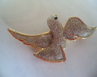 Fabulous Unsigned Vintage Silvertone/Goldtone Dove Brooch/Pin