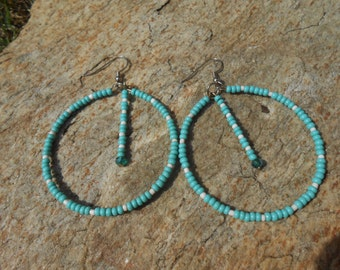 White and Turquoise Handmade Beaded Earrings