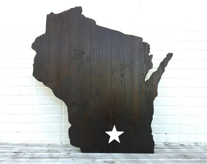 Wisconsin Wooden Map Wall Decor. State Home Sign. Wood 3D Map. Housewarming Gift Idea.