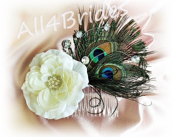 Bridal hair comb, peaock feathers and white rose wedding hair accessory.  Ready To ship
