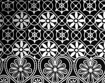 Black and White Floral Ankara fabric, African Wax Cotton fabric, Monochrome fabric, African Print, African Ankara, sold by the yard