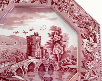 Cranberry Red Spode LUCANO Collectible Plate The Spode Archive Sutherland Collection Octagonal Dinner Plate Transferware Made In England