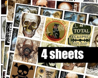 """SPOOKTACULAR SQUARES -  Digital Printable Collage Sheets - Halloween Sale Bundle with Zombies, Anatomy, Edgar Allen Poe, 1"""" Squares, 25 mm"""