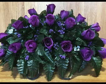 Headstone Saddle, Cemetery Flowers, Grave Decoration, Memorial Arrangement, Purple Roses, Birthday, For Her, For Him, For Mom, Sympathy