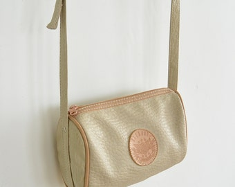 Gitano 1980's Cross Body Bag Faux Pebbled Leather Tan Simple  Small Shoulder Bag
