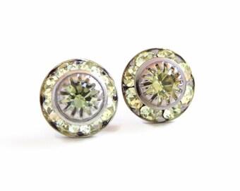 Yellow crystal stud earrings - created with Vintage Swarovski crystals - crystal studs - yellow earrings - citrine earrings