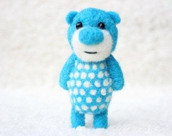 Ultra blue polka dotted pocket bear 44