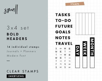 STMP-3X4-032 - Bold Headers | Planner and Journal Clear Stamp Kit | 3x4""