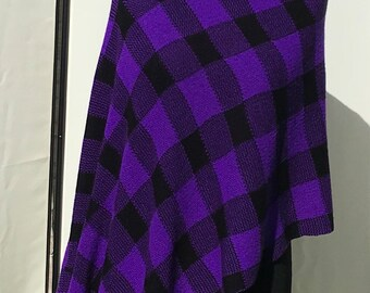 Purple, black, chequered, tartan, knitted, shawl, poncho, vegan friendly