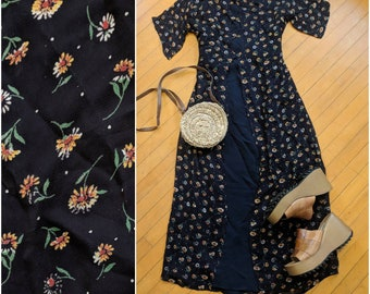 Vintage 90's Black Sunflower Maxi Dress || VTG Sheer Sunflower Overlay Midi Dress, M/L