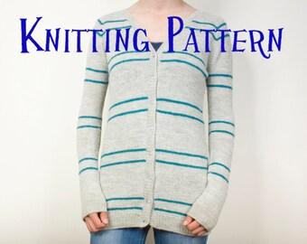 PDF Knitting Pattern - Parallel Lines Cardigan, Women's Top Down Seamless Raglan Cardigan Knitting Pattern, Ladies Sweater Pattern, Stripes