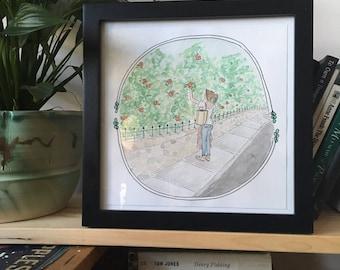 Season From the Sidewalk / Garden / Art / Hand drawn / Illustration / Watercolour / Custom / Drawing / Print