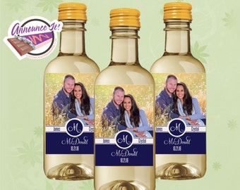 pesonalized wedding mini wine labels party favor fits 187ml