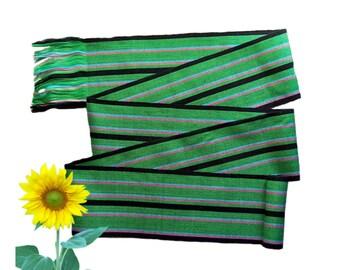 Striped Kelly Green Sash, SA06 - Fabric Sash Belt - Guatemalan Textiles - Ethnic Sash - Gypsy Clothing - Bohemian Belt - Woven Sash
