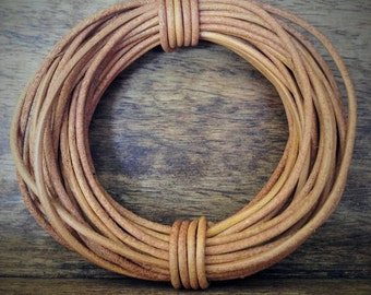 Natural Round Leather Cord | 1.5mm | 5 metres (5.47 yards)