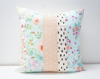 Pillow Cover - Patchwork Pillow Cover, 20x20, light blue, pink, peach, teal, coral floral, black dots