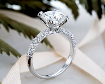 Near-Colorless (F-G) Moissanite Engagement Ring with Micro-Pave Diamond 3 CTW 14k White Gold