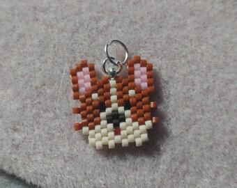Corgi dog seed bead woven key chain, a BeadCrumbs pattern!