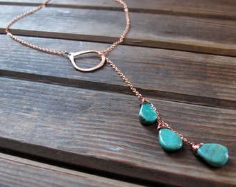 Sundrop - Turquoise or Labradorite Lariat Necklace - Semi Precious Stone and Copper Teardrop Lariat Necklace - Artisan Tangleweeds Jewelry
