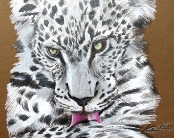 Tiger, drawing on pastel drawing