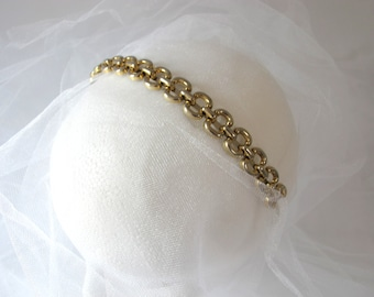 Modern Regency - Vintage Metallic Link Chain Headband in soft gold - for a modern bridal look or Classic Accent