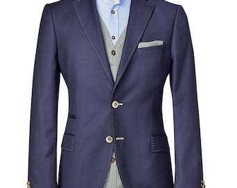 Men's custom suit/ Full canvas/ Super 100s/ NavyBlue/ Custom tailoring/ bespoke/men suit jacket/ men suit vest