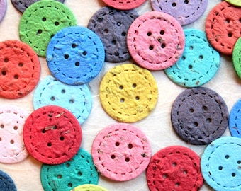100 Plantable Seed Paper Buttons - Cute as a Button Baby Shower Favor - Confetti Buttons