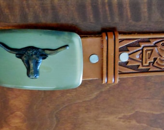 Vintage 70's Hand Tooled Leather Belt -Sz 34 Cow Bull Brass Buckle -Chambers of Phoenix -Western/ Rodeo/Aztec/Studs -Genuine Steer Hide -USA